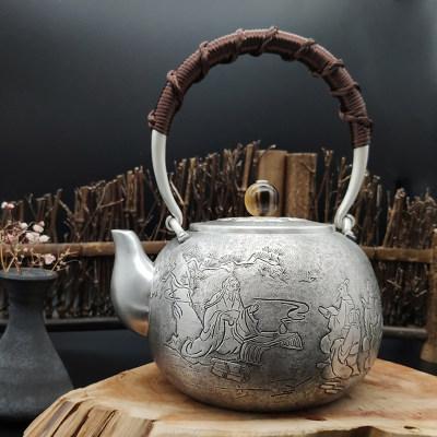 艺魂足银本色檀木茶具-孔子讲学提梁壶