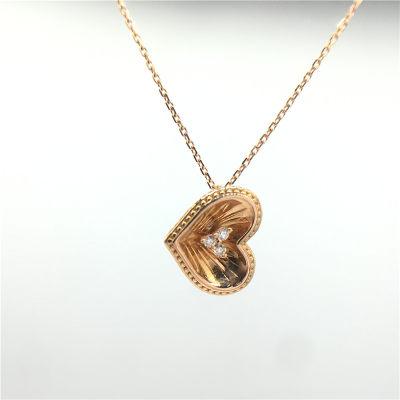 幸福心愿 K金玫瑰色钻石套链