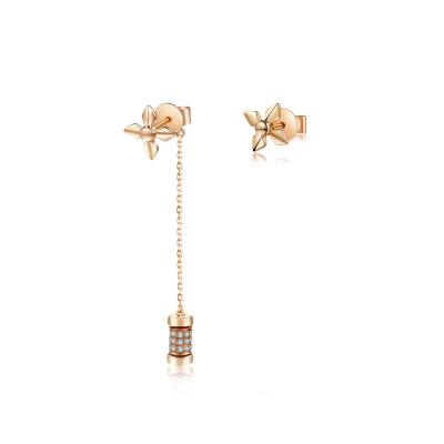 幸福牵挂18k金玫瑰色钻石耳钉