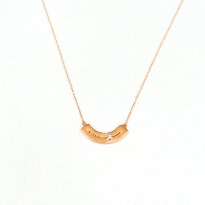 幸福左右18k金玫瑰色钻石套链
