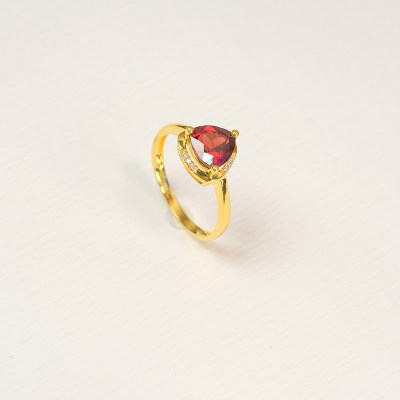 幸福石榴 18K金戒指 AU750金**彩宝镶嵌戒指