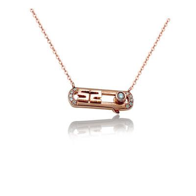 幸福节日 18K金玫瑰金色钻石项链