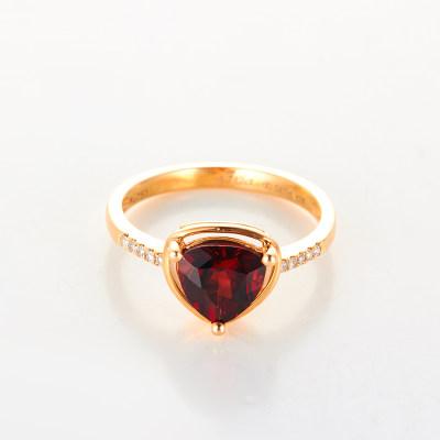 幸福匠意AU750金玫瑰色天然彩宝简约几何女士戒指节日礼品女友老婆