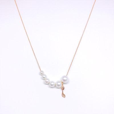 幸福唯美18金玫瑰色珍珠套链