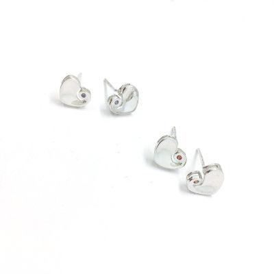心之赋S925银电白合成立方氧化锆耳钉