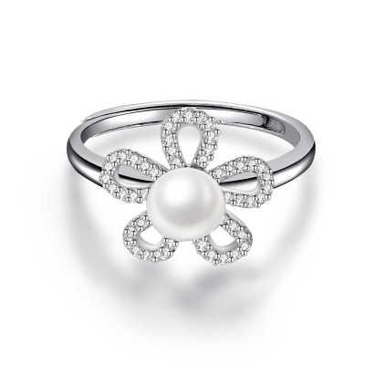 S925银电白珍珠戒指