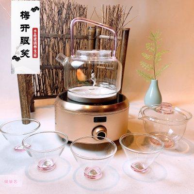 银玻艺 梅兰竹菊银与玻璃组合茶具套装