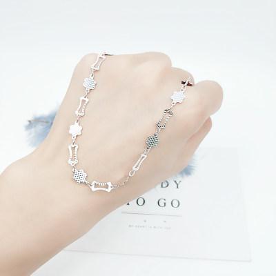 花爱 S925银 素银 脚链