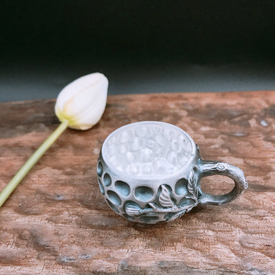 匠艺德-足银仿古茶具礼品-桃子杯子