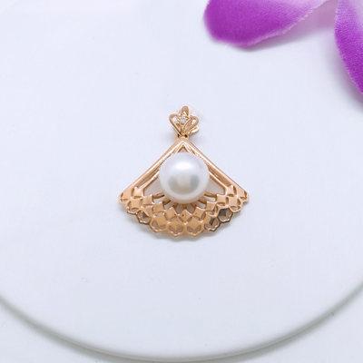 幸福绣球 18K金玫瑰色 钻石 珍珠吊坠
