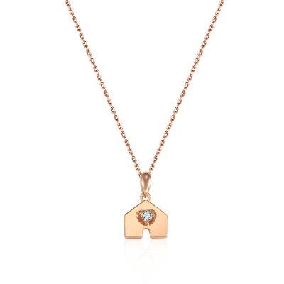 幸福之门系列18K金玫瑰色钻石项链-002款式
