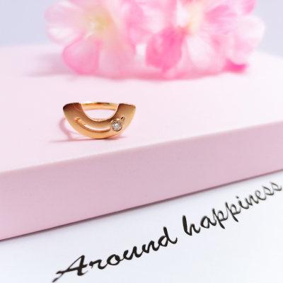 幸福左右18k金玫瑰色钻石女戒