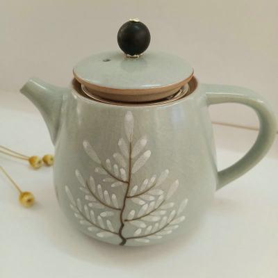 银瓷康 足银本色檀木陶瓷茶具-泡茶壶 纯银滤网