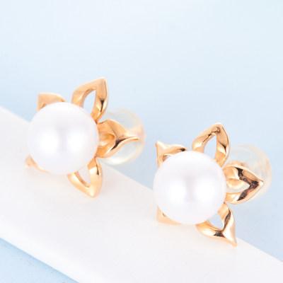 幸福小珠 AU750金红珍珠珍珠耳钉