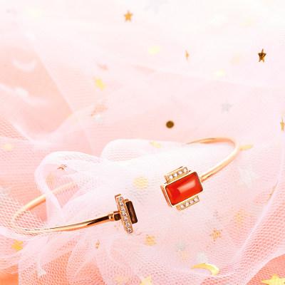 幸福百乐-AU750金色玫瑰色玛瑙手镯