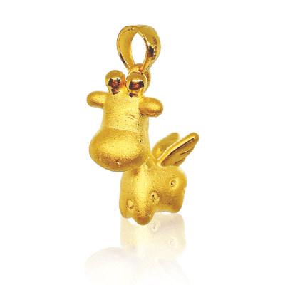 """幸福童谣-3D硬金黄金ins风设计 一""""鹿""""长久 长颈鹿吊坠"""