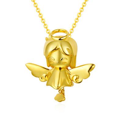 幸福天使AU750金黄色素金套链云朵天使吊坠挂坠项链女孩节日礼物
