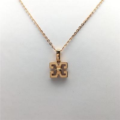 幸福之源-18K金素金套链女士小清晰时尚百搭精致品位几何元素原创字母项链