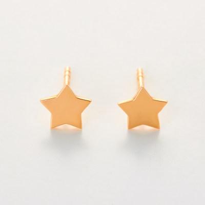 幸福少女-AU750金玫瑰色素金耳环