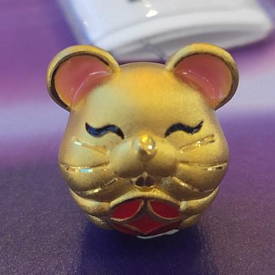 幸福鼠专柜正品 3D硬金生肖吊坠 鼠年必买