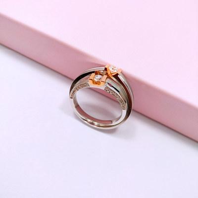 幸福承诺 18K金分色镶嵌钻石情侣戒对戒