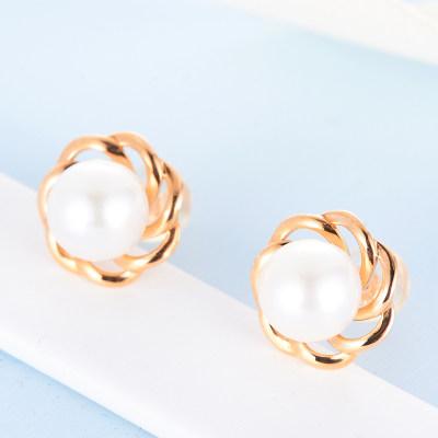 幸福珍惜-AU750金红珍珠耳钉 18K金珍珠简约镂空花朵气质耳钉 潮流时尚