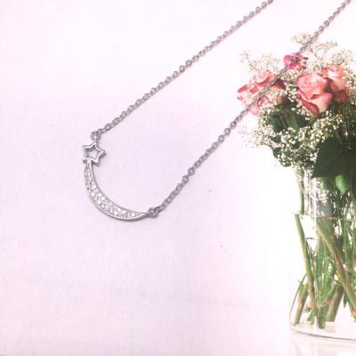 小小爱情S925银电白合成立方氧化锆套链