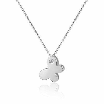 幸福寻梦系列AU750金白色钻石蝴蝶套链