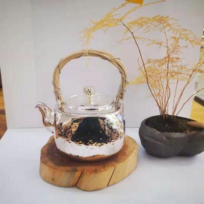 粼光-足银本色茶具-提梁壶