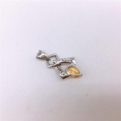 S925银电白黄晶吊坠