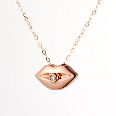 幸福轻吻-18K玫瑰金钻石套链 创意项链送女友 生日礼物