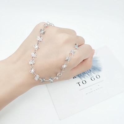 花爱 S925银 电白 素银 脚链