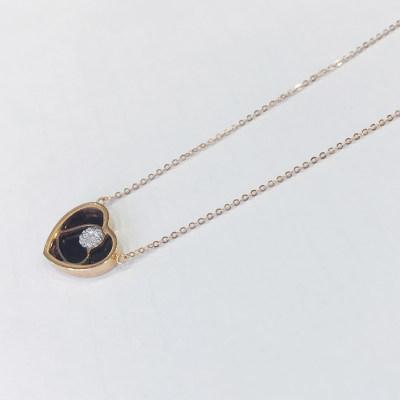 幸福之镜18K金玫瑰色文艺钻石套链