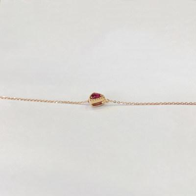 幸福悦己18K金玫瑰色纯正红三角形碧玺手链显手白饰品