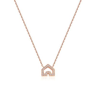 幸福之门系列18K金玫瑰色钻石项链-001款式