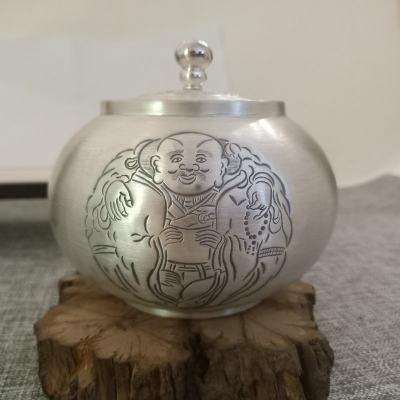纯银茶叶罐,足银,手工