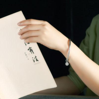 腕味999足银简约乐字银手镯女时尚光面刻字纯银手镯年轻款送女友老婆礼物