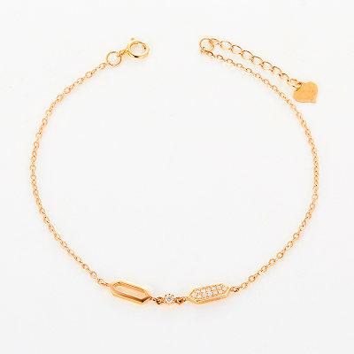 幸福乐观18k金玫瑰色钻石手链 正品轻奢精致 节日情人节礼物