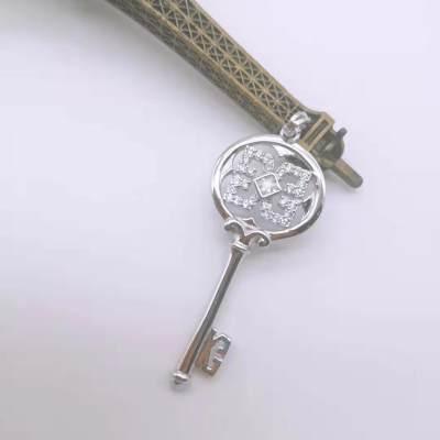信德缘银饰S925银电白合成立方氧化锆镶嵌女款吊坠