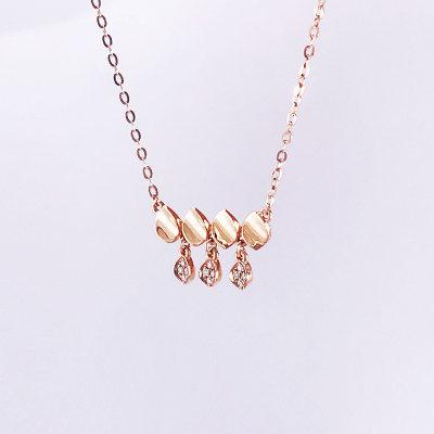 幸福珠宝专柜正品 幸福感悟微幸福粒粒幸福AU750金玫瑰色钻石套链