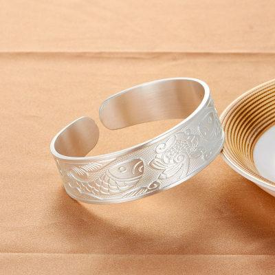 腕儿 连年有余999足银女士纯银手镯鲤鱼图案开口设计传统工艺纯银镯子