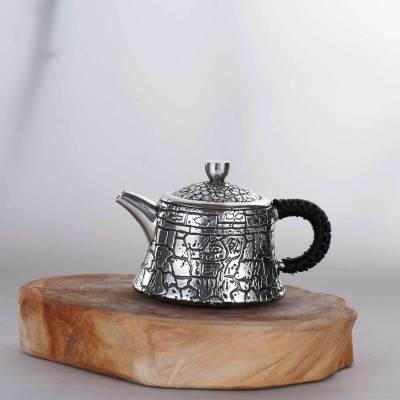 匠义-足银仿古茶具-饮水思源小壶