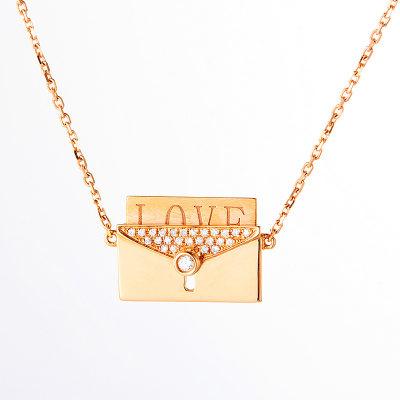 幸福情书 AU750金玫瑰色钻石项链 18K金信封图形创意彩金项链 保证正品套链时尚饰品气质锁骨链