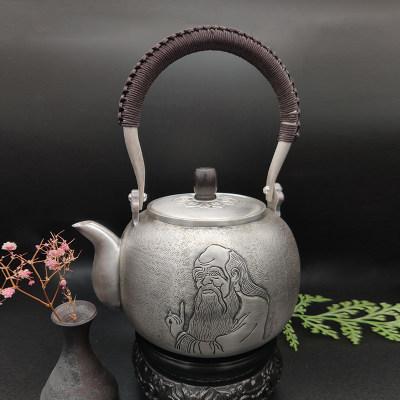 艺魂足银本色檀木茶具-老子提梁壶(檀木壶钮)