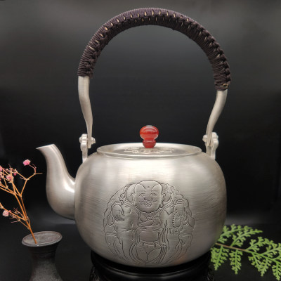 艺魂足银本色茶具-一团和气提梁壶