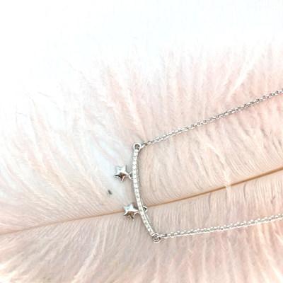 小小爱情S925银电白立方氧化锆套链