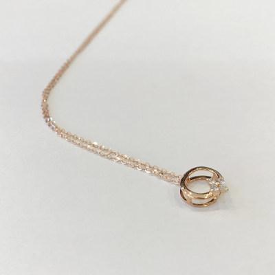 幸福之镜18K金玫瑰色优雅钻石套链