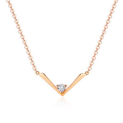 幸福飞翔AU750金玫瑰色钻石项链套链