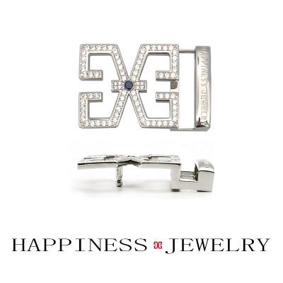 幸福之源-925银合成立方氧化锆皮带扣时尚休闲个性精致男士礼品