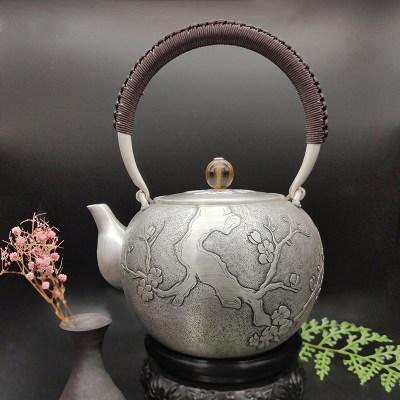 足银仿古牛角茶具-梅花提梁壶(一剪梅)